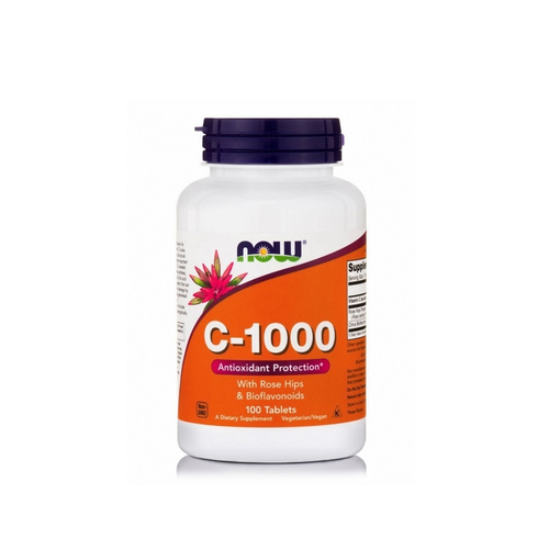 Now Foods Vit C 1000 mg with Rose Hips & Bioflavonoids 100 Tabs