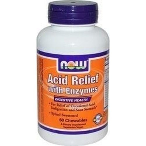 Now Foods Acid Relief with Enzymes 60 Μασώμενα Δισκία