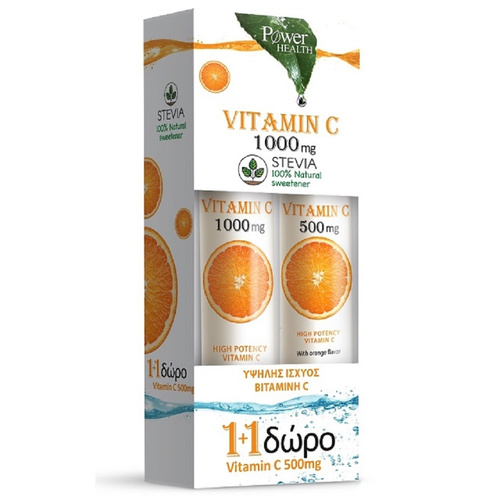 Power Health Vitamin C 1000mg με Στέβια 20 + 4tabs + Δώρο Vitamin C 500mg 20tabs