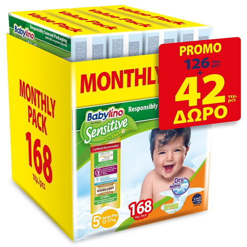 Babylino Sensitive Βρεφική Πάνα No5+ 13-27 Kg Monthly Pack 4x42 = 168τμχ
