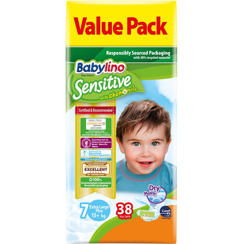 Babylino Sensitive Βρεφική Πάνα No7 17+ kg Value Pack 38τμχ