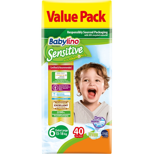 Babylino Sensitive Βρεφική Πάνα No6 15-30 Kg Value Pack 40τμχ