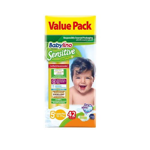 Babylino Sensitive Πάνες Sensitive Value Pack No5+ (13-27Kg) 42τεμ