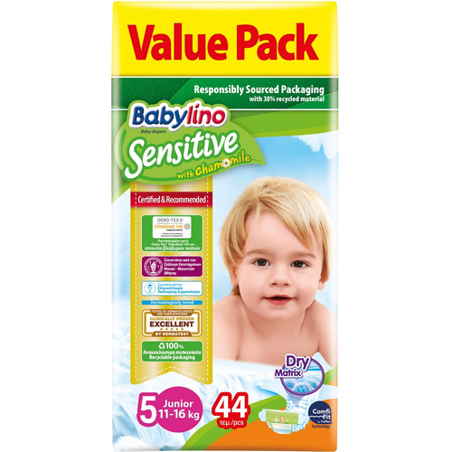 Babylino Sensitive Πάνες Sensitive Value Pack No5 (11-25Kg) 44τεμ