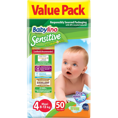Babylino Sensitive Πάνες Sensitive No4 (8-13Kg) 50τμχ