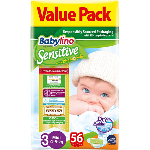 Babylino Sensitive Πάνες Sensitive No3 (4-9Kg) 56τεμ