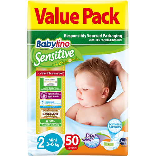 Babylino Sensitive Πάνες Sensitive No2 (3-6Kg) 50τεμ