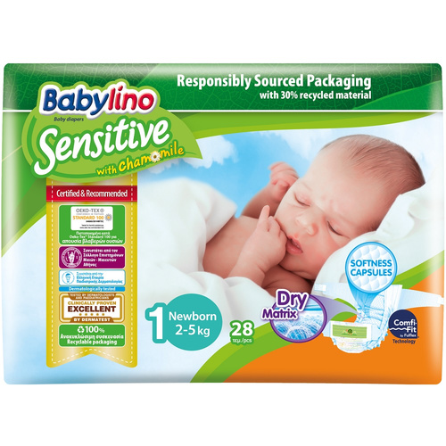 Babylino Sensitive Πάνες Sensitive No1 (2-5Kg) 28τμχ