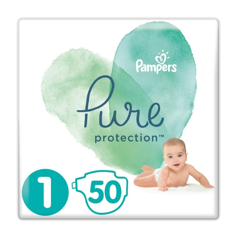 Pampers Pure Protection Μέγεθος 1 2-5Kg 50 Πάνες