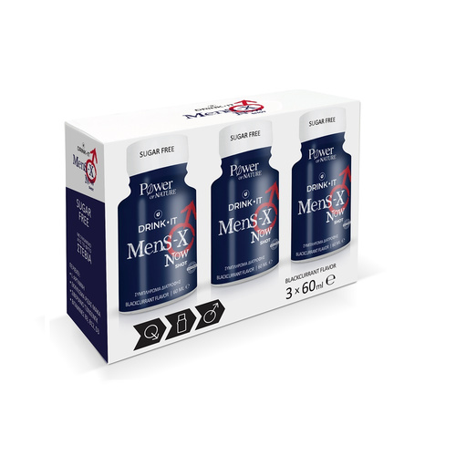 Power Health Drink It Mens-X Now Φραγκοστάφυλου 3x60ml