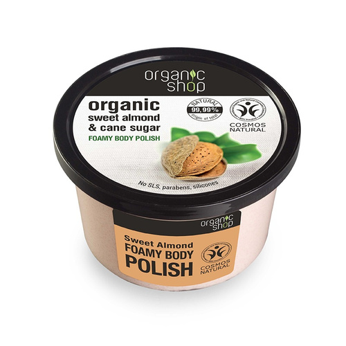 Natura Siberica Organic Shop Sweet Almond & Cane Sugar Foamy Body Polish Αφρώδες Απολεπιστικό Σώματος 250ml