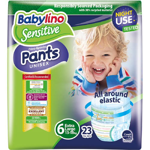 Babylino Sensitive Πάνες Βρακάκι Sensitive Pants No6 Extra Large Unisex (15+Kg) 23τεμ