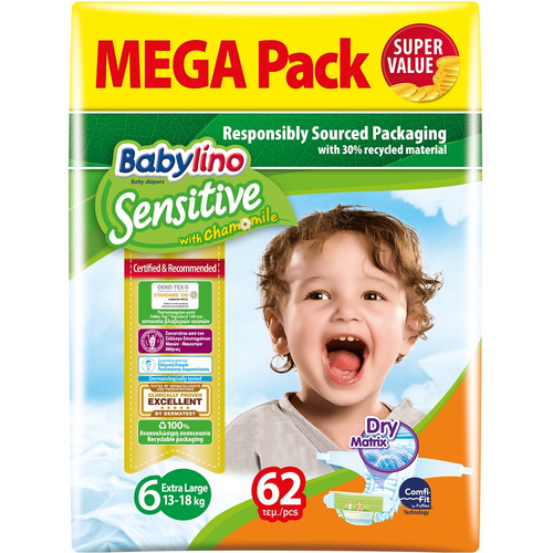Babylino Sensitive Βρεφική Πάνα Sensitive No6 15-30Kg Mega Pack 62τμχ