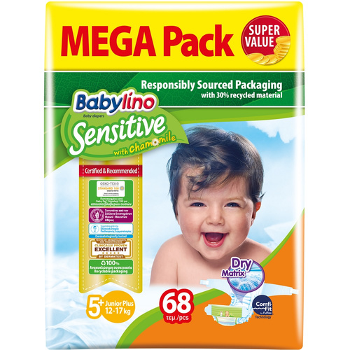 Babylino Sensitive Βρεφική Πάνα Sensitive No5+ 13-27Kg Mega Pack 68τμχ