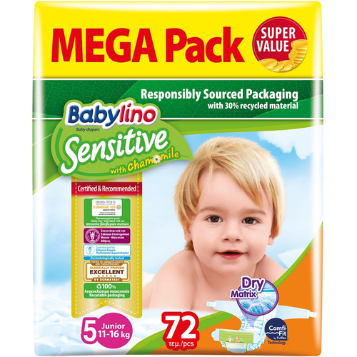 Babylino Sensitive Βρεφική Πάνα Sensitive No5 11-25Kg Mega Pack 72τμχ