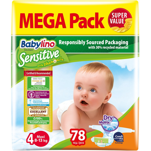 Babylino Sensitive Βρεφική Πάνα Sensitive No4 7-18Kg Mega Pack 78τμχ
