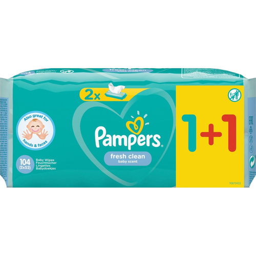 Pampers Fresh Clean Μωρομάντηλα 52 Μωρομάντηλα 1+1 Δώρο