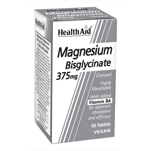 Health Aid Magnesium Bisglycinate 375mg & Vitamin B6 60Tbs