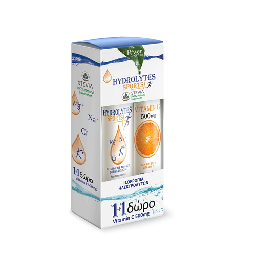 Power Health Hydrolytes Sports με Στέβια 20 Αναβ. Δισκία & Δώρο Vitamin C 500mg 20 Αναβ. Δισκία