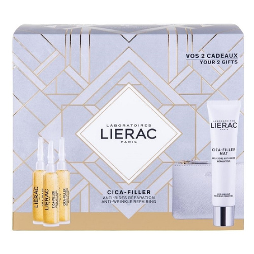Lierac Promo Cica-Filler Anti-Wrinkle Repairing Serum 3 X 10ml & Cica-Filler Mat Anti-Wrinkle Repairing Cream-Gel 40ml & Δερμάτινο Πορτοφόλι