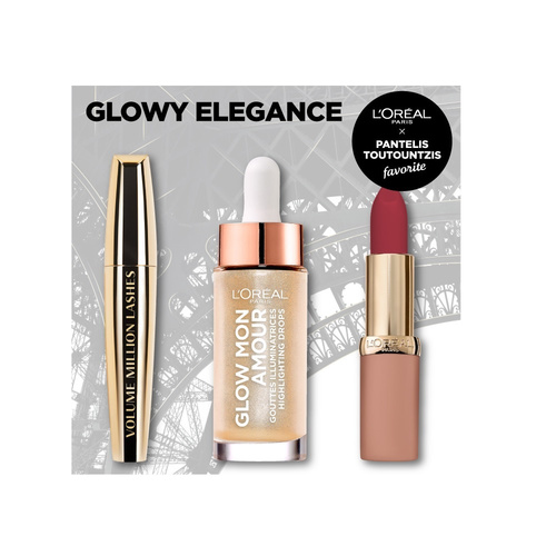 Loreal Paris Promo Glowy Elegance Volume Million Lashes Mascara 10.7ml & Glow Mon Amour 15ml & Color Riche Ultra Matte 4.2g