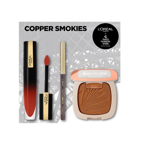 Loreal Paris Promo Copper Smokies Back To Bronze Gentle Matte Bronzing Powder 9g & Le Liner Signature Eyeliner 1.2g & Gloss Rouge Signature 6.4ml