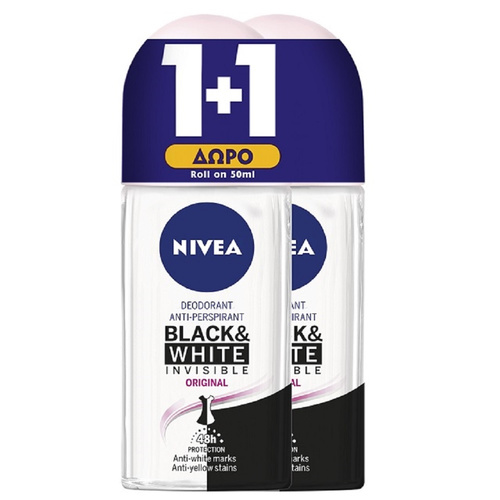 Nivea Promo Deo Black & White Invisible Original Roll-On Γυναικείο Αποσμητικό 50ml 1+1 Δώρο