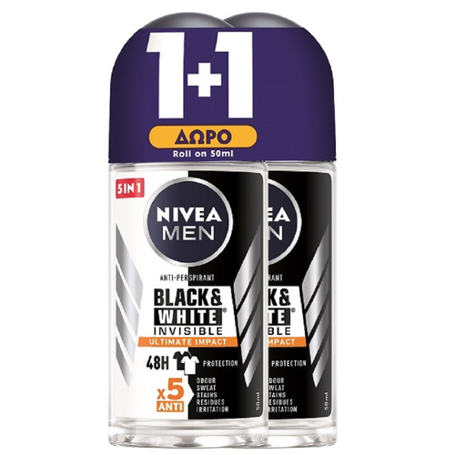 Nivea Promo Deo Black & White Ultimate Roll-on Αντρικό Αποσμητικό 50ml 1+1 Δώρο