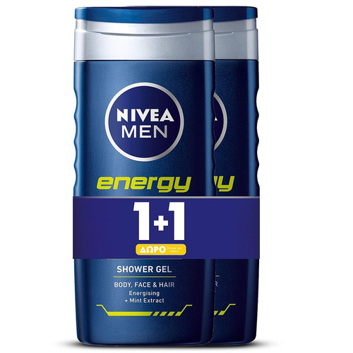 Nivea Promo Men Ντους Gel Energy For Men 500ml 1+1 Δώρο