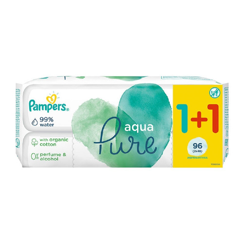 Pampers Promo Pure Wipes Aqua Pure Μωρομάντηλα 1+1 Δώρο 96τμχ
