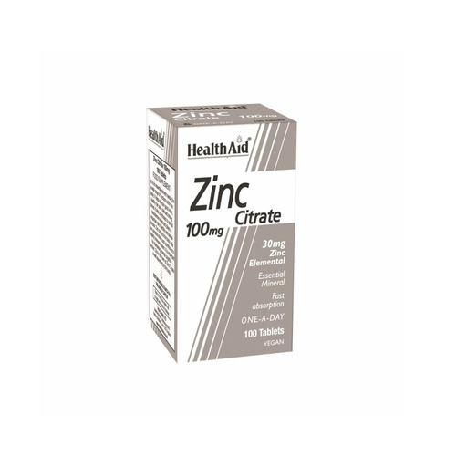 Health Aid Zinc Citrate 100mg 100tabs