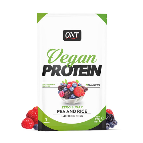 Qnt Vegan Protein Powder Red Fruits Party Single Dose 20gr