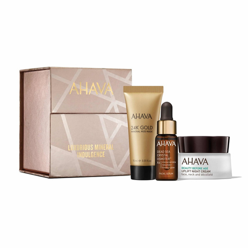 Ahava Promo Maximum Radiance - 24K Gold Mineral Mud Mask 15ml & Dead Sea Crystal Osmoter X6 Facial Serum 5ml & Uplift Night Cream 15ml