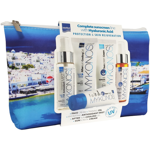 Luxurious Promo Mykonos Suncare Toiletry Bag Complete Sunscreen Line with Hyaluronic Acid 5τμχ