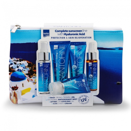 Luxurious Promo Suncare Santorini Toiletry Bag Complete Sunscreen Line with Hyaluronic Acid 5τμχ