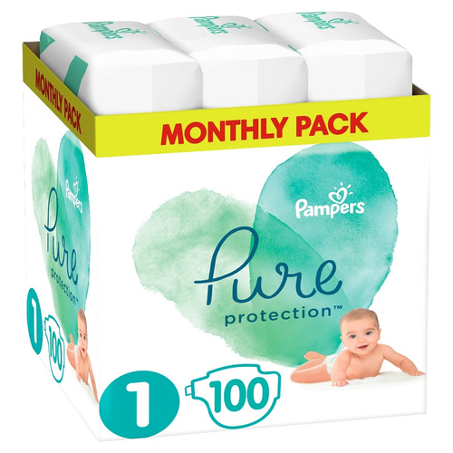 Pampers Pure Protection Monthly Pack Μέγεθος 1 2-5kg 100 Πάνες