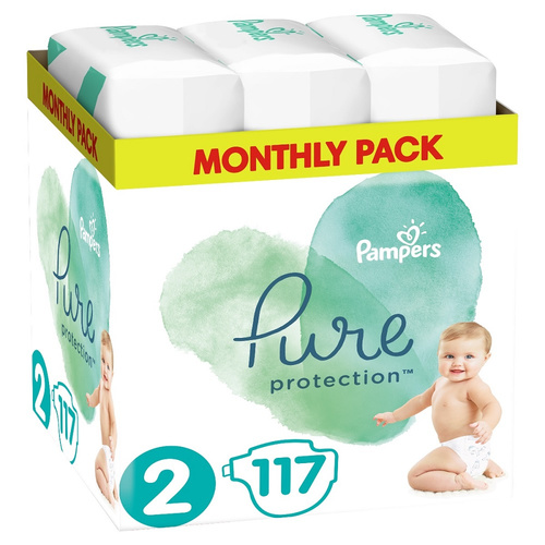 Pampers Pure Protection Monthly Pack Μέγεθος 2 4-8kg 117 Πάνες