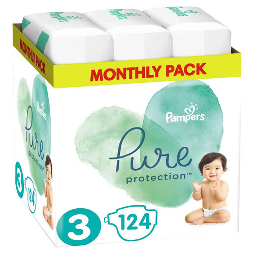 Pampers Pure Protection Monthly Pack Μέγεθος 3 6-10kg 124 Πάνες