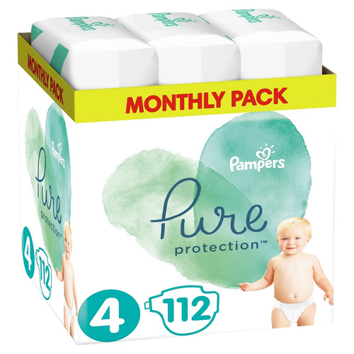 Pampers Pure Protection Monthly Pack Μέγεθος 4 9-14kg 112 Πάνες
